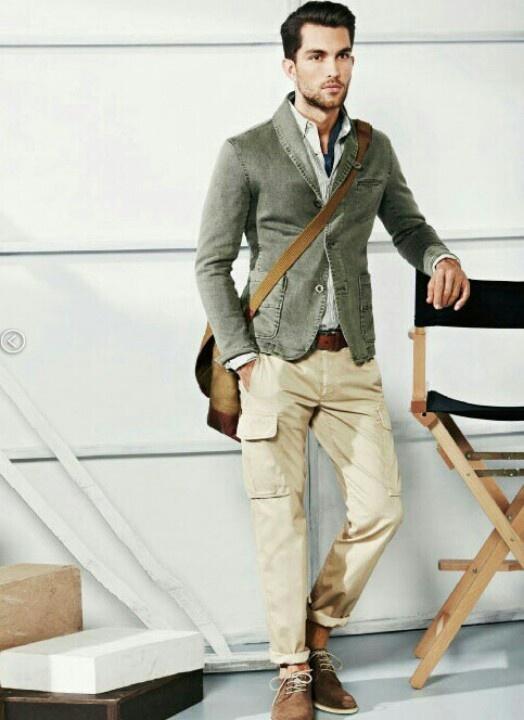 Men's Fashion: Grey Blazer, Cream Pants, Brown Shoes & Belt.