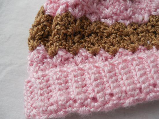 Baby Hat - Pink - Brown - Crochet
