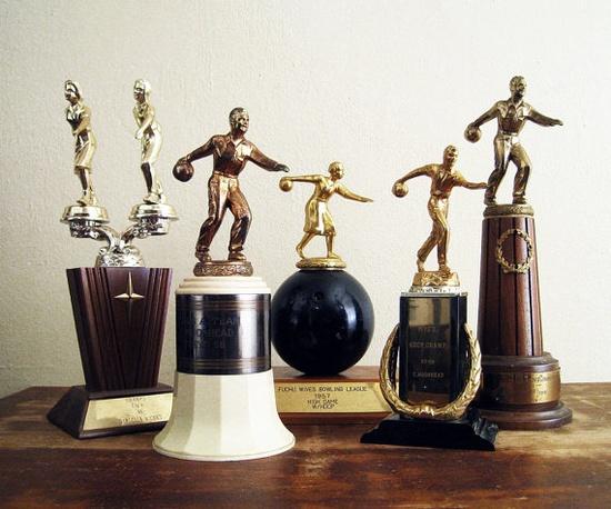 vintage bowling trophies