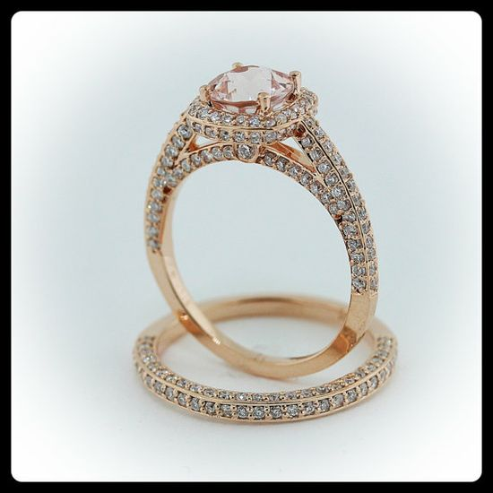 Morganite Wedding Set Engagement Ring and Wedding Band 14k Rose Gold via Etsy. I love the peek-a-boo and pave diamonds in the ring's profile and I love the soft color of the morganite. Beautiful.