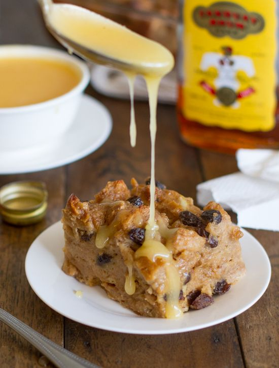 Bread Pudding with Hot Butter Rum Sauce -- nothing more comforting on a cool fall day as a nice big slice, well okay - chunk - of bread pudding. And, wow this sauce sounds amazing! Yummy!!