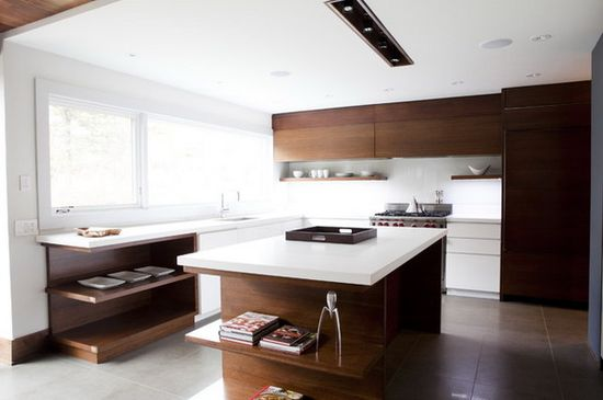 Modern Kitchen Design with Wood Cupboard