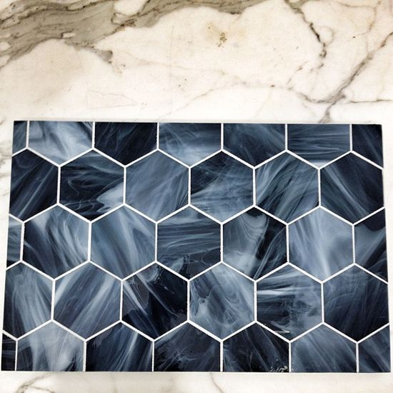 I was just gonna use Carrara marble. Now I see this blue glass veneer hexagon tiles in @Heather Gaume.  Bathroom floor? interior design  Photo by albertochan