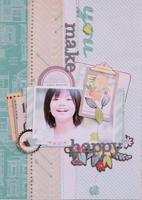 #papercraft #scrapbook #layout You Make Me Happy - by Michiko Kato using the Dear Lizzy 5th & Frolic collection from @jan issues Wilke Russell-Snider Crafts #scrapbooking #layout #dearlizzy #paper