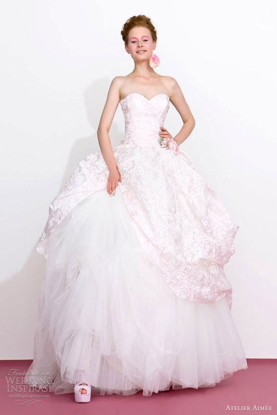 atelier aimee 2013 pink wedding dresses print ball gown
