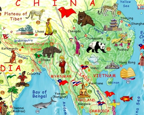 Children's Illustrated World Wall Map by Akris: tinyurl.com/18r  $19.99 #Map #World_Wall_Map #Kids #Akris