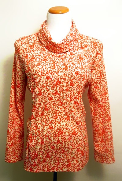60's Cowl Neck Long Sleeve Orange Fall/Winter Shirt Sz 14. $35.00, via Etsy.