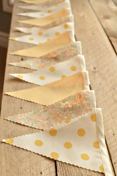 Smile - Vintage Bunting Banner with 12 Flags. via Etsy.