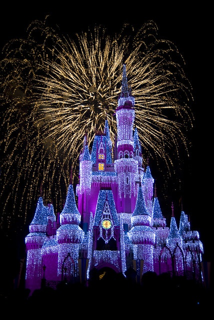 Cinderella Castle with holiday ice and fireworks