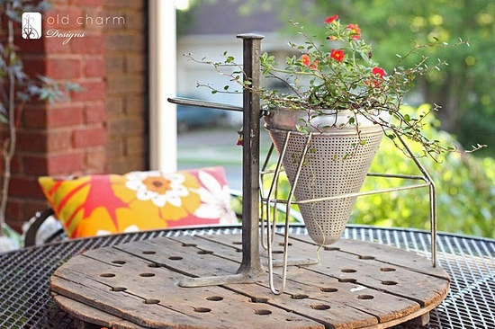 vintage food mill used as a planter