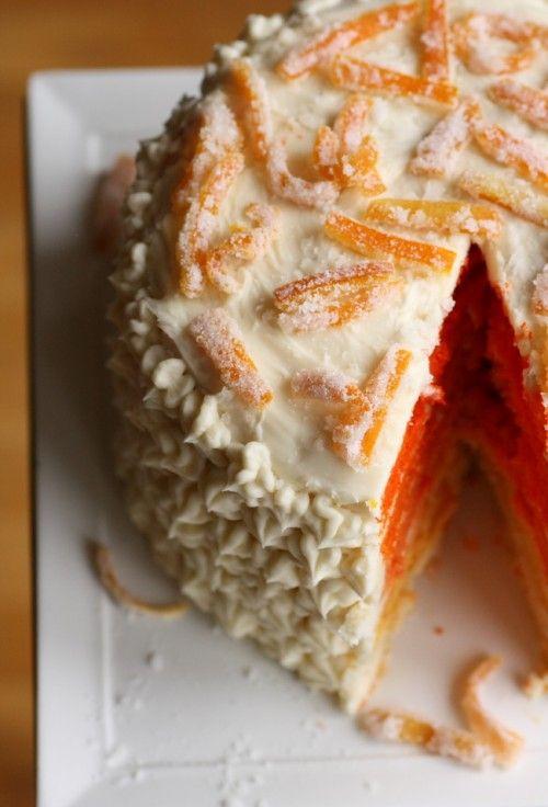 orange ombre cake layer