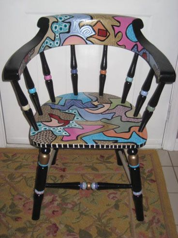 Funky Hand-Painted Captains Chair