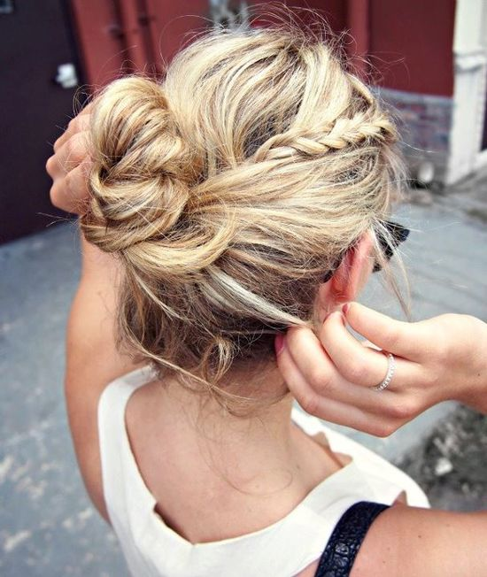 messy buns with braid