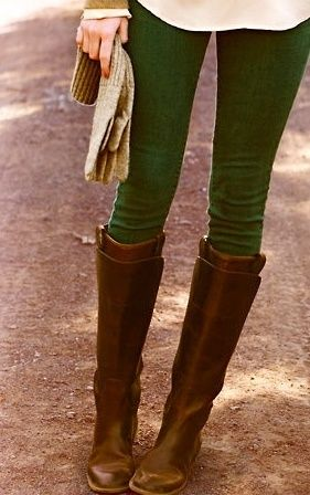Adore the green pants + brown boots