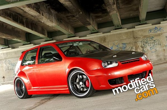 Modified  red and black VW Golf MK4 Supercharged 2000