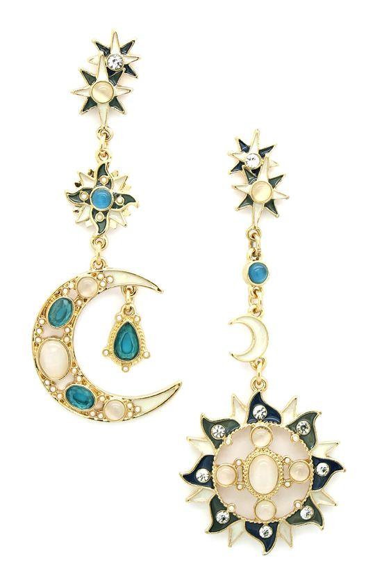 Sun & Moon Drop Earrings