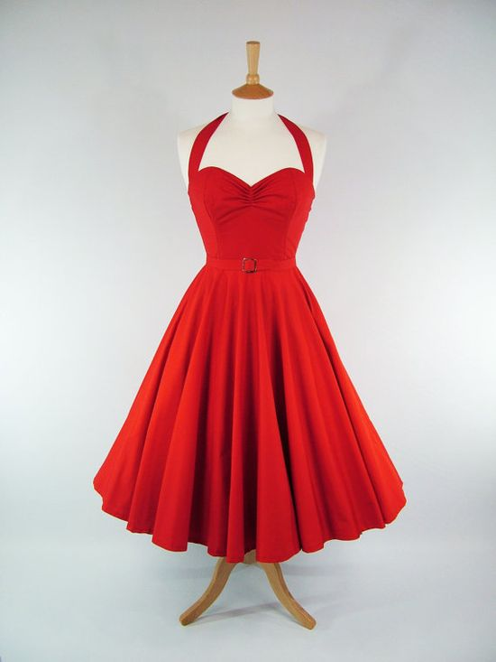 MADE TO MEASURE Red Boned Full Skirt Dress with by GinAndSinEtsy, £110.00