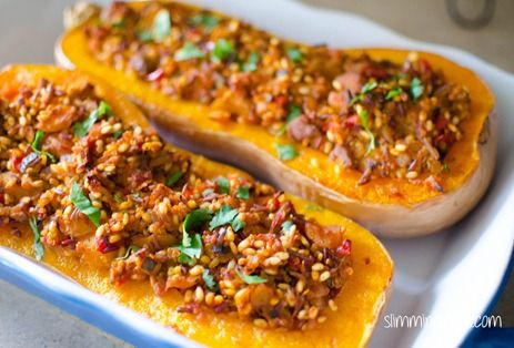 Butternut Squash stuffed with Spicy Chicken and Rice