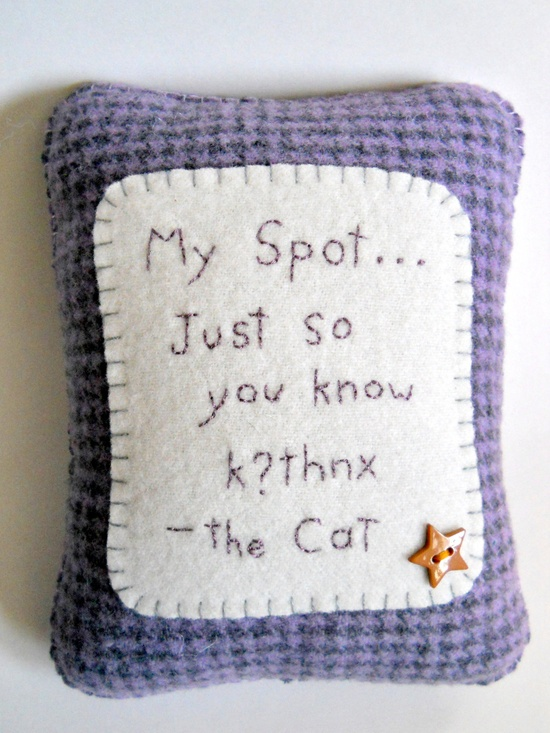 """Personalized Pet Pillow - """"My Spot"""" - Cute Novelty Pillow. $25.00, via Etsy. // But Wednesday would need at least 6 of these."""