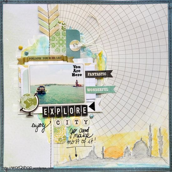 explore your city! LO by worqshop for #scrapmap #istanbul #scrapbooking #sketch