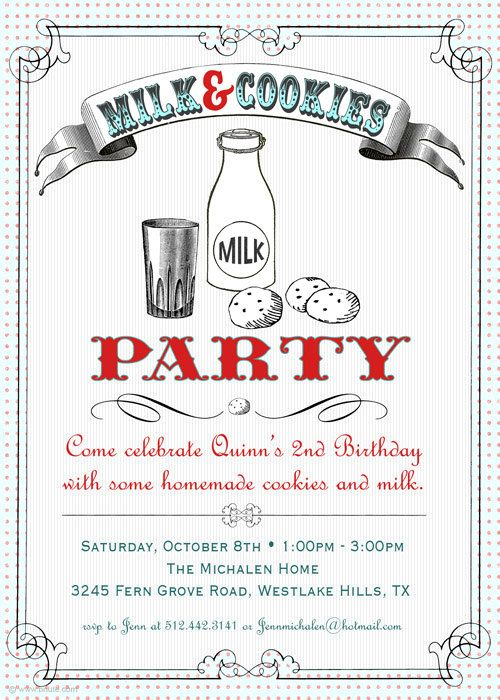 Adorable Invite. Cute for anyone who loves milk and cookies!