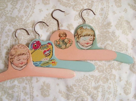 Vintage Baby Clothes Hangers  I had one like these with a cat on