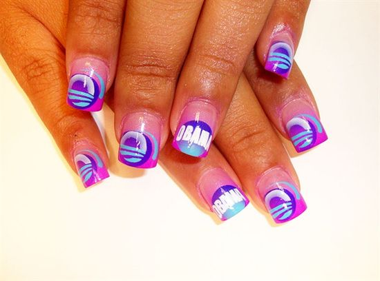 purple obama nails - Nail Art Gallery by NAILS Magazine