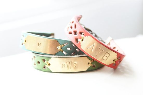 Leather and Brass Monogram Bracelets