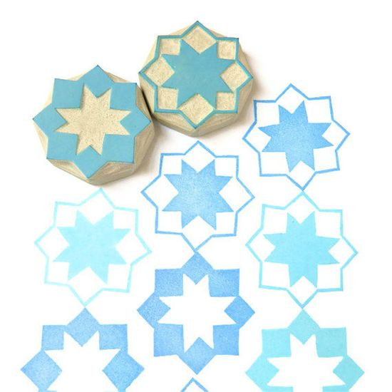 Moroccan Stars Pattern Rubber Stamps - Hand Carved Stamp Set. $14,00, via Etsy.