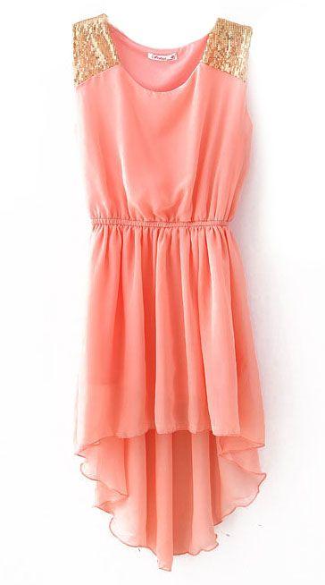 Pink Sequined Shoulder Dress