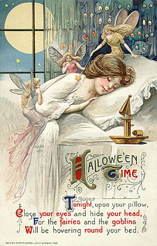 """""""Close your eyes and hide your head, for the fairies and goblins will be hovering round your bed."""" How delightfully spooky! #vintage #Halloween #card"""