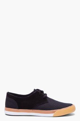 COMME DES GARÇONS SHIRT Black Suede Trimmed Sneakers