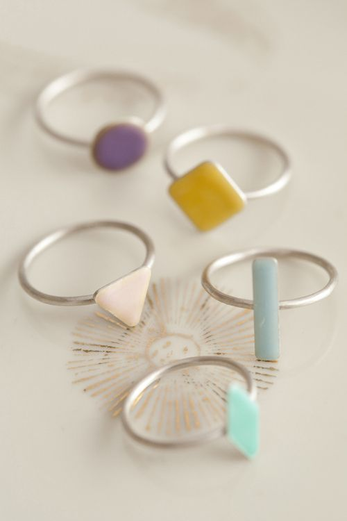 Rings in pastel shapes. cute and simple