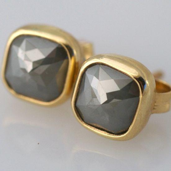 Bright Gray Rose Cut Diamond Post Earrings $500