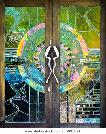 Stained glass door (stock photo)