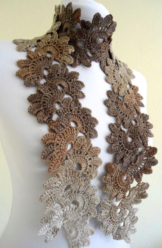 crochet bamboo lace neckwarmer