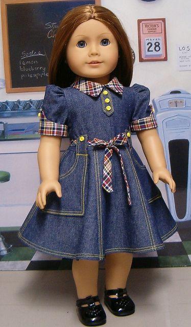 Denim dress with plaid accents.