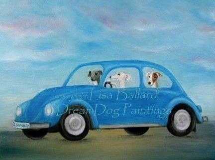 If only it was a green bug with a black greyhound driving.  Hound Bug  Italian Greyhound / Whippet by dreamdog on Etsy, $22.50