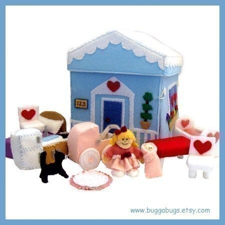 Home Sweet Home  PDF Doll Pattern Dollhouse Dolls by BuggaBugs, $6.00