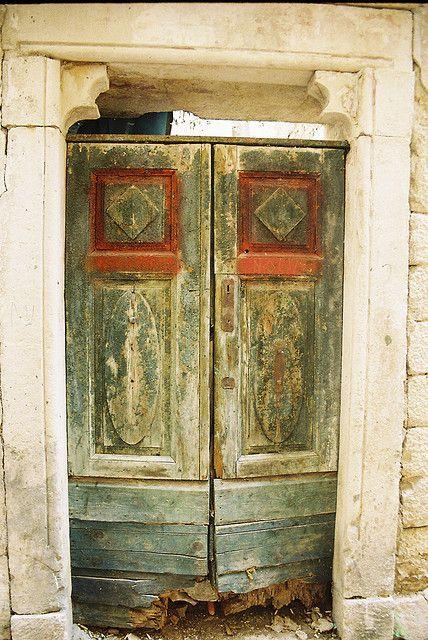 Old green doors. Montenegro