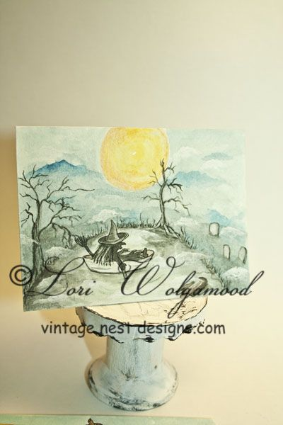 ACEO - The Witch in the Boat - Halloween Watercolor Print - $7.50 : Vintage Nest Designs, Creative Handmade and Hand Painted Designs