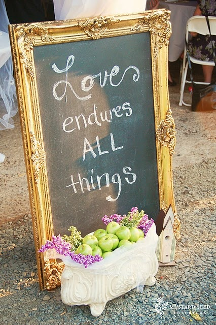 Cool idea to have a few of these around the wedding area with different inspirational love quotes, Outdoor Wedding