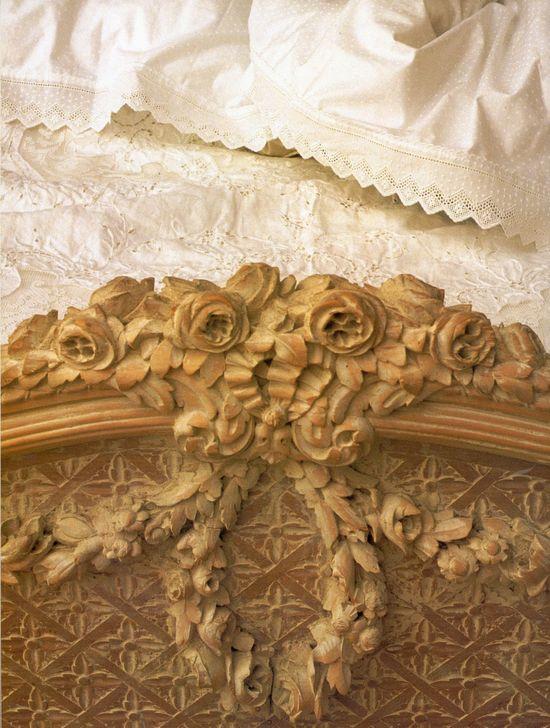 carved rose design bed mantle