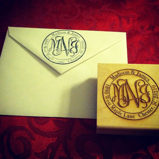 Monogram return address stamp. $25.00, via Etsy.