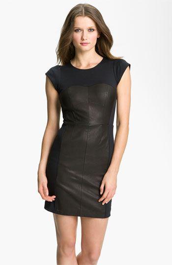Rebecca Taylor Colorblock Leather Sheath Dress