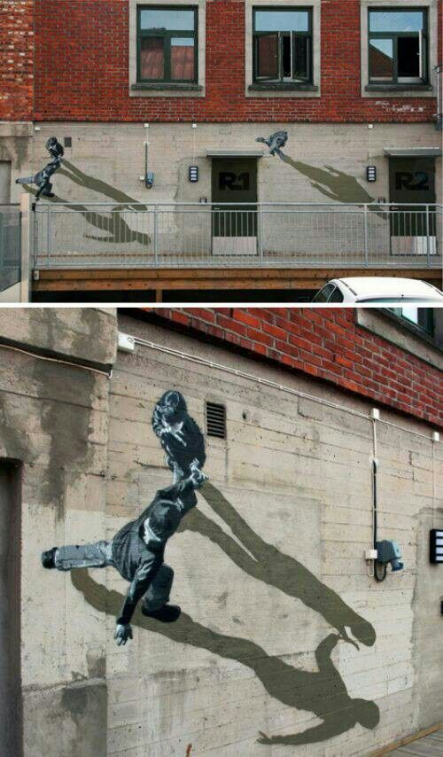 3D Street Art. Walking on Walls. Exceptionally clever Wall Mural. Artist Unknown.