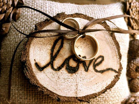 Rustic wedding ring bearer pillow pine cone wedding by MomoRadRose, $26.00