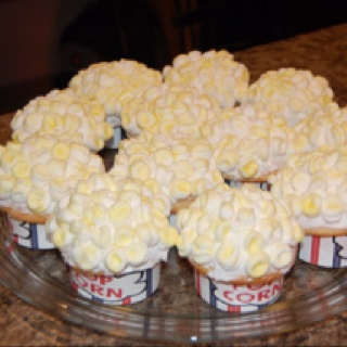 Popcorn Cupcakes! These are my cupcakes that won the cupcake war game we played!!!