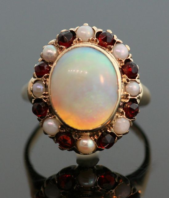 Antique Opal Garnet and Pearl Ring