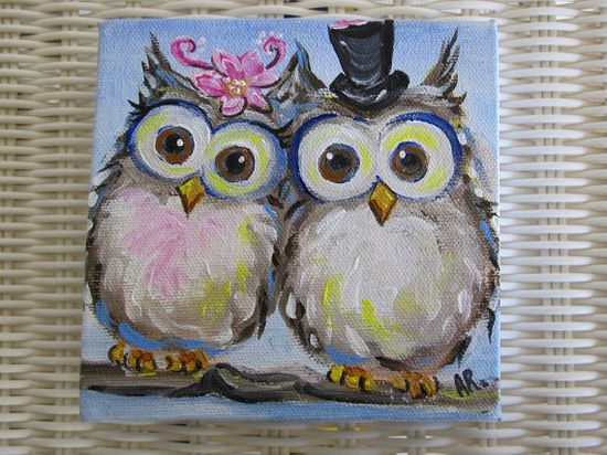 Original Owl Painting on Canvas- Mr and Mrs Hoot